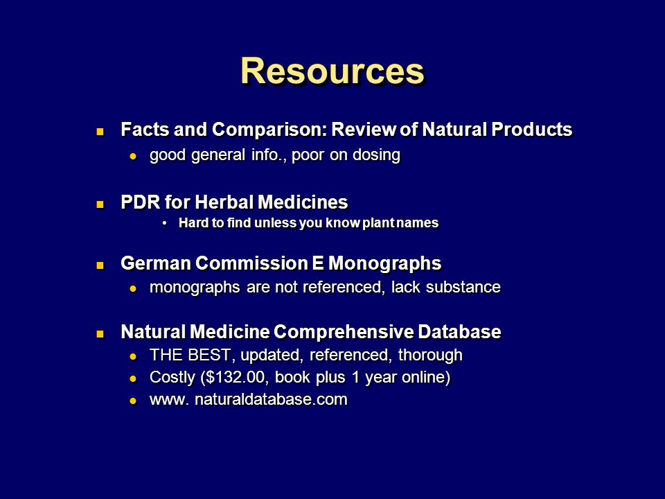 Resources Facts and Comparison: Review of Natural Products
