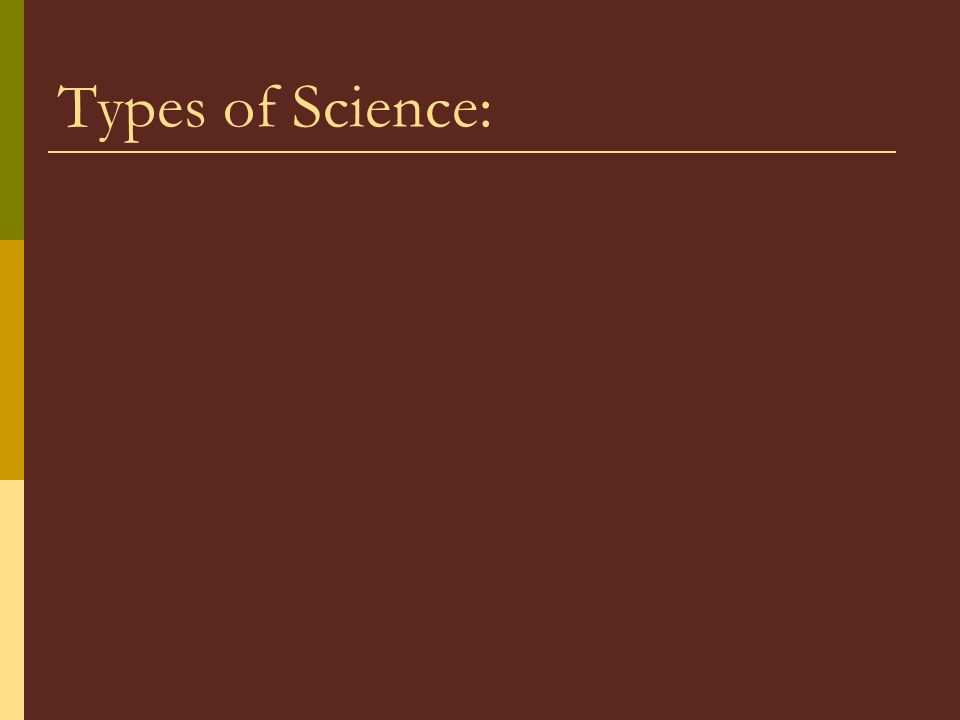 Types of Science: