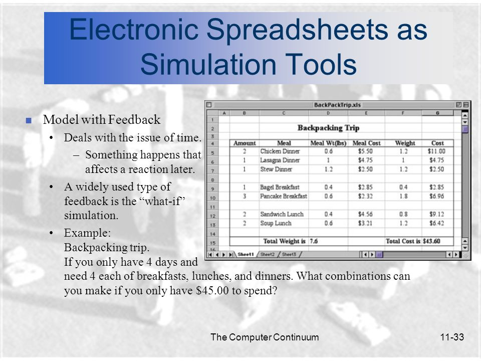 Electronic Spreadsheets as Simulation Tools