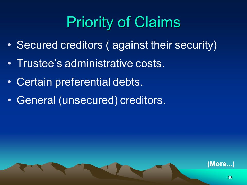 Priority of Claims Secured creditors ( against their security)