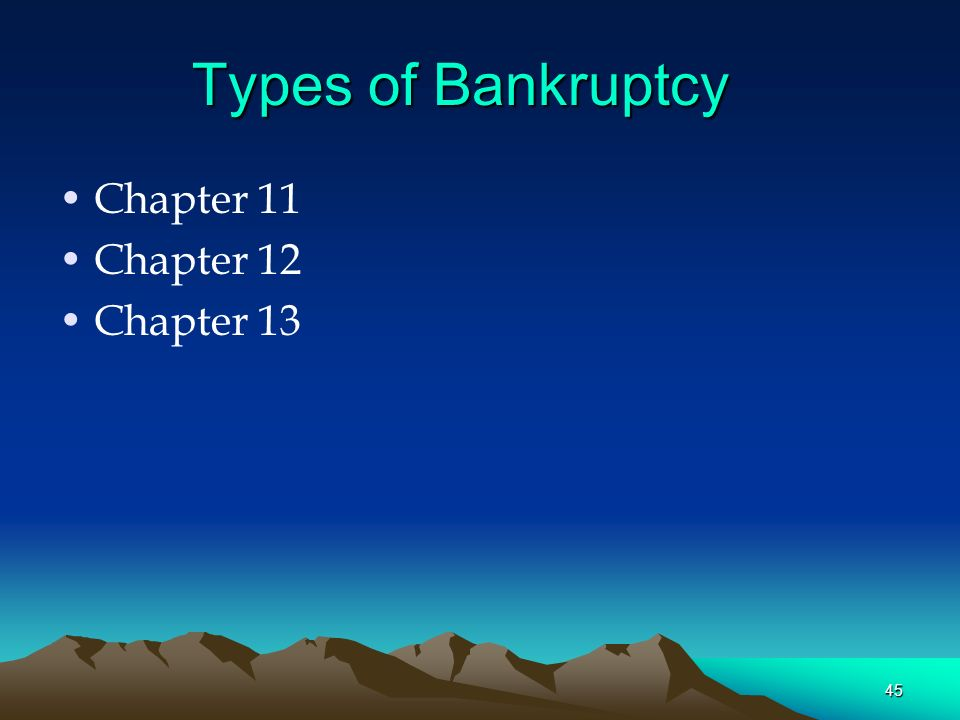Types of Bankruptcy Chapter 11 Chapter 12 Chapter 13