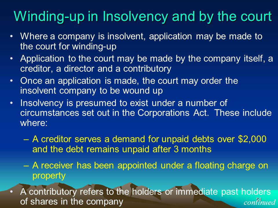 Winding-up in Insolvency and by the court