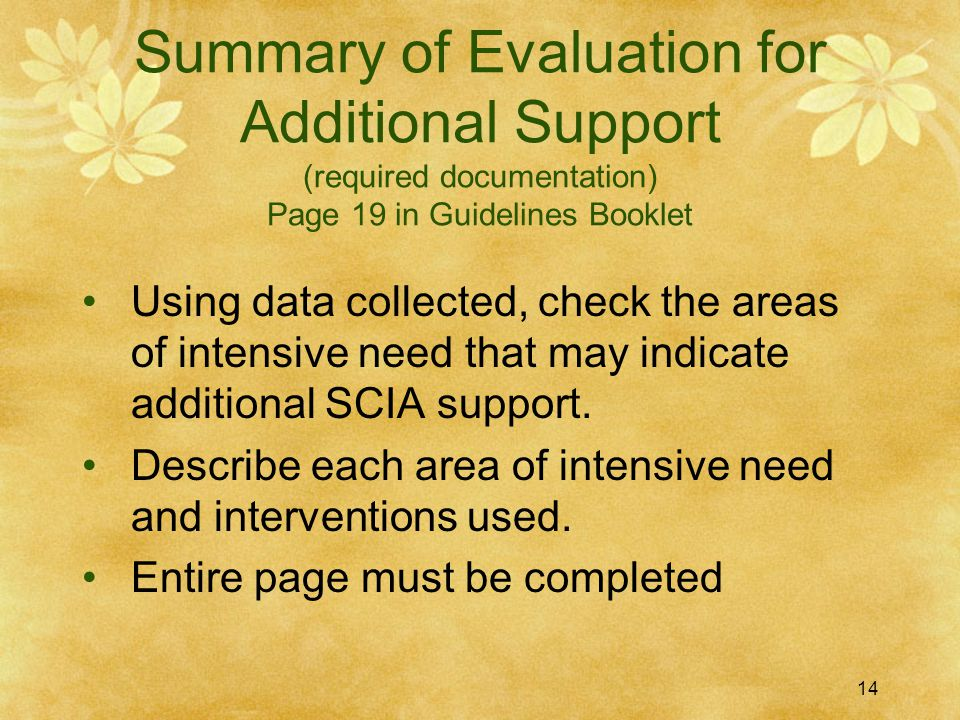 Summary of Evaluation for Additional Support (required documentation) Page 19 in Guidelines Booklet