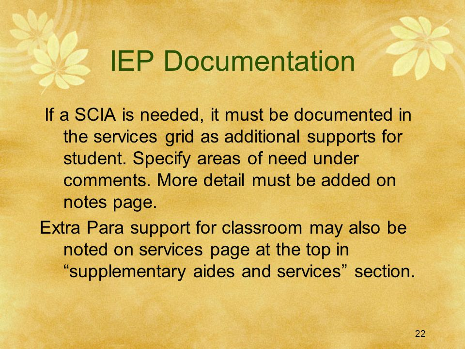 IEP Documentation