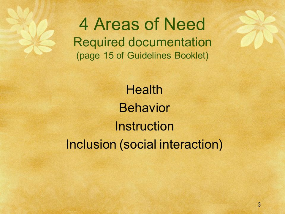 4 Areas of Need Required documentation (page 15 of Guidelines Booklet)