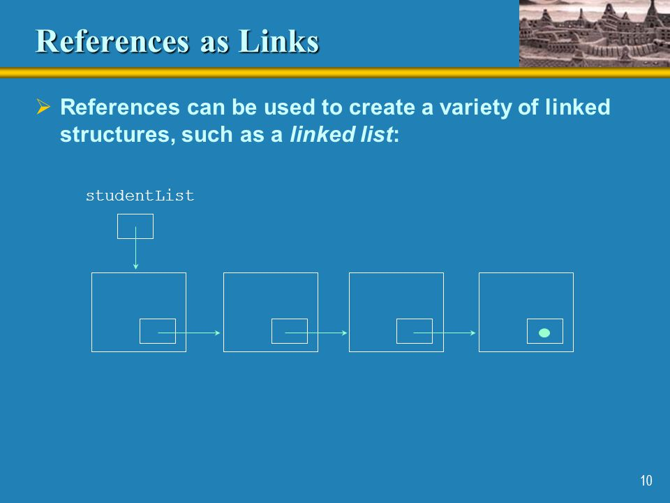 References as Links References can be used to create a variety of linked structures, such as a linked list: