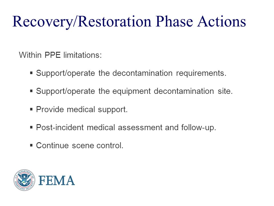 Recovery/Restoration Phase Actions