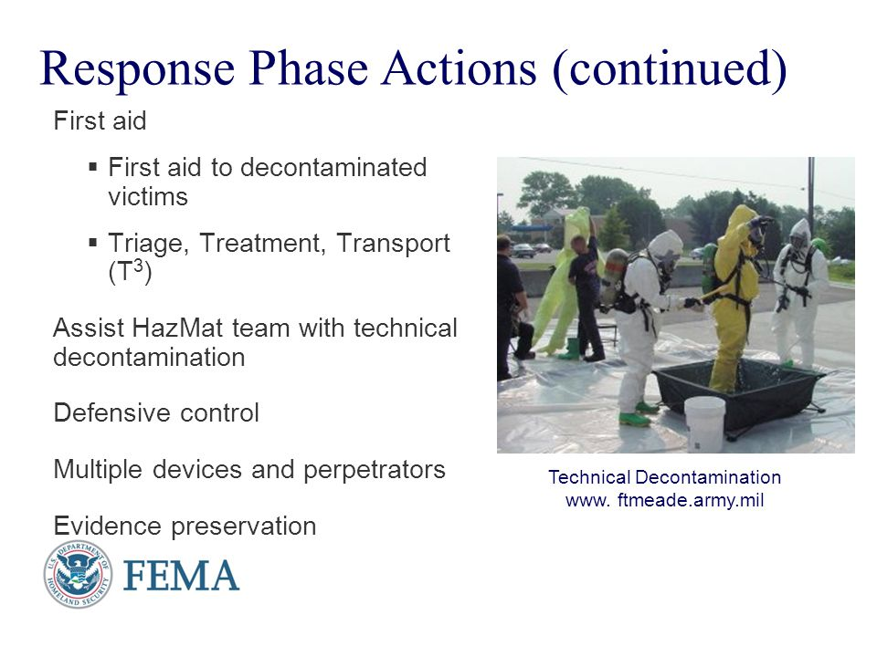 Response Phase Actions (continued)