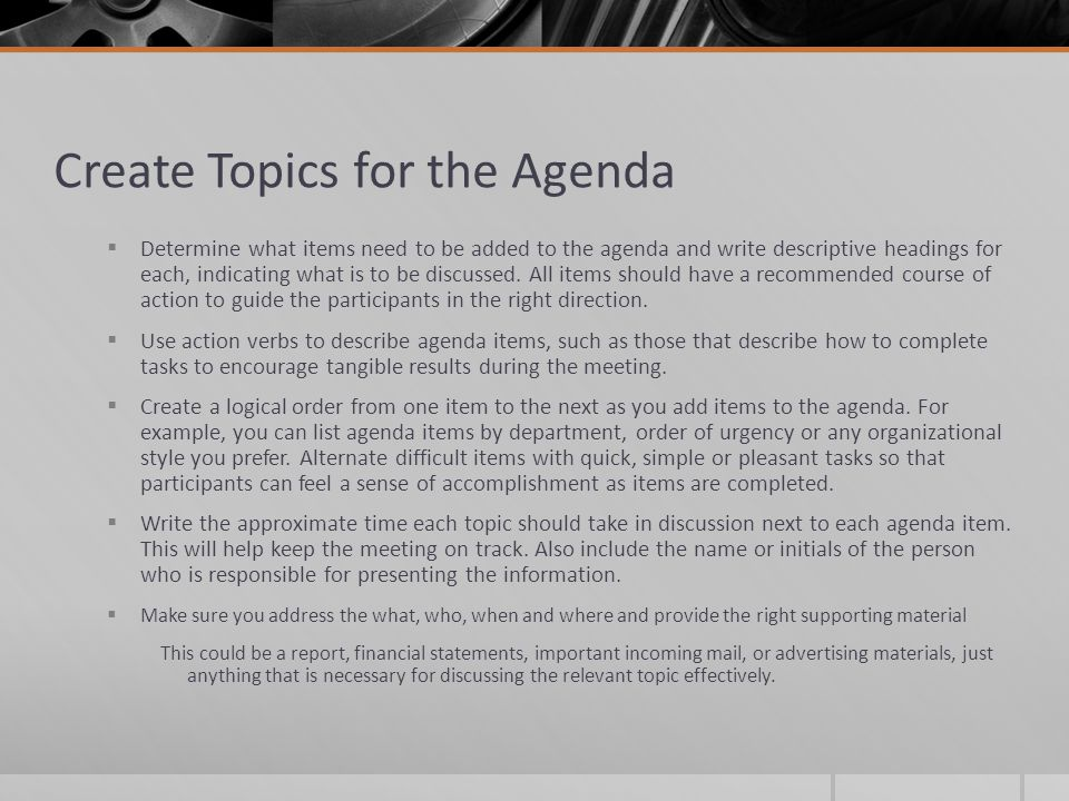 Create Topics for the Agenda