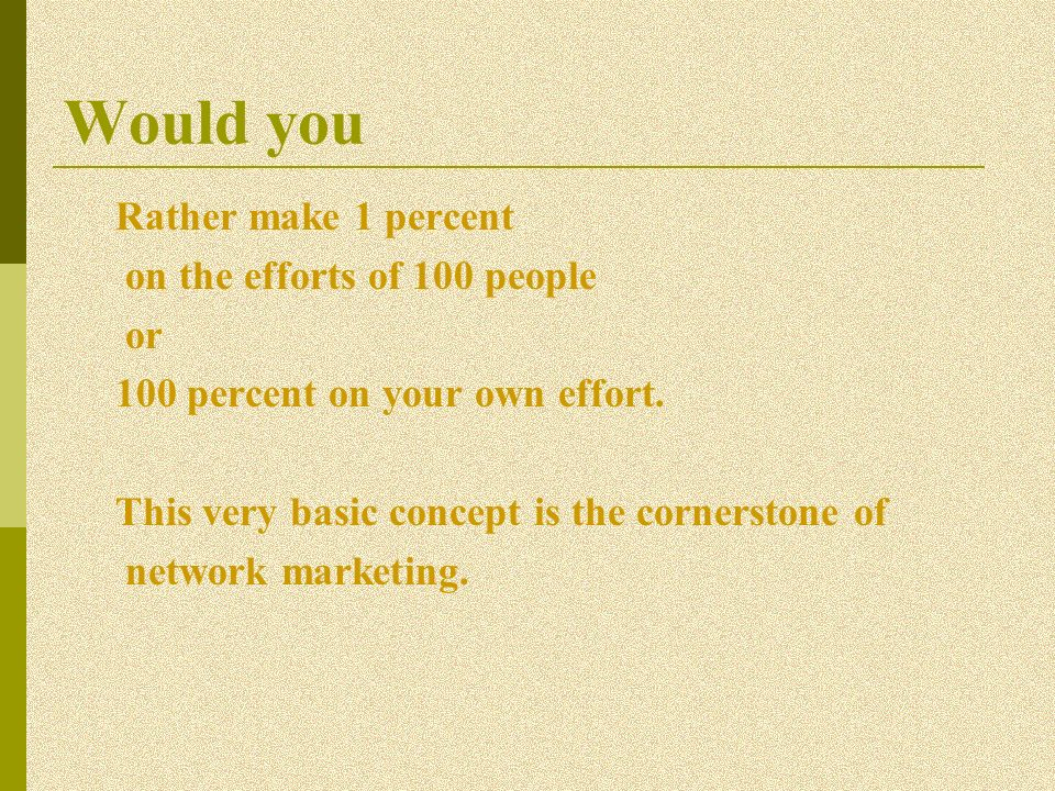 Would you Rather make 1 percent on the efforts of 100 people or