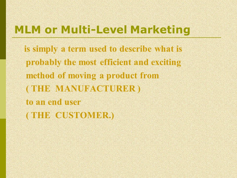 MLM or Multi-Level Marketing