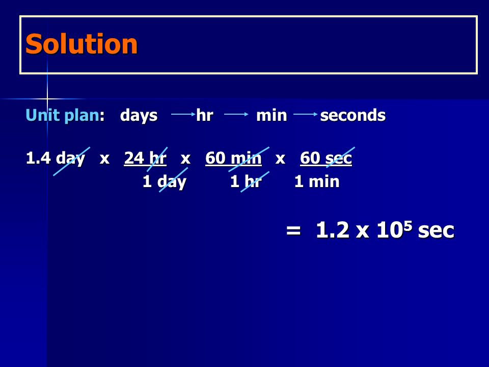 = 1.2 x 105 sec Solution Unit plan: days hr min seconds