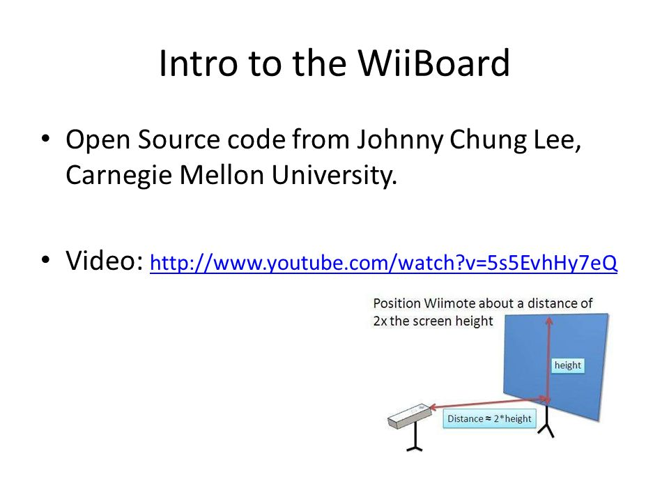 Intro to the WiiBoard Open Source code from Johnny Chung Lee, Carnegie Mellon University.