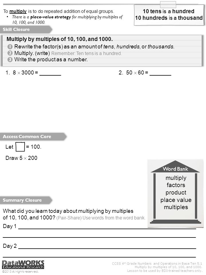Printable Worksheets multiples of 10 worksheets : We will multiply by multiples of 10, 100, and ppt video online ...