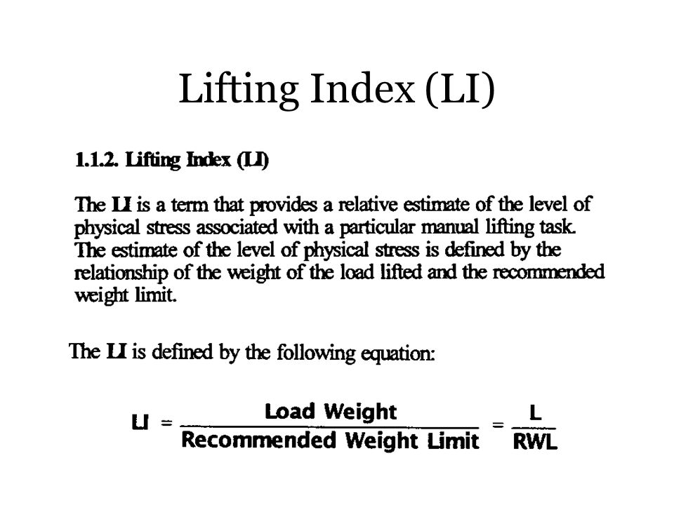 Lifting Index (LI)