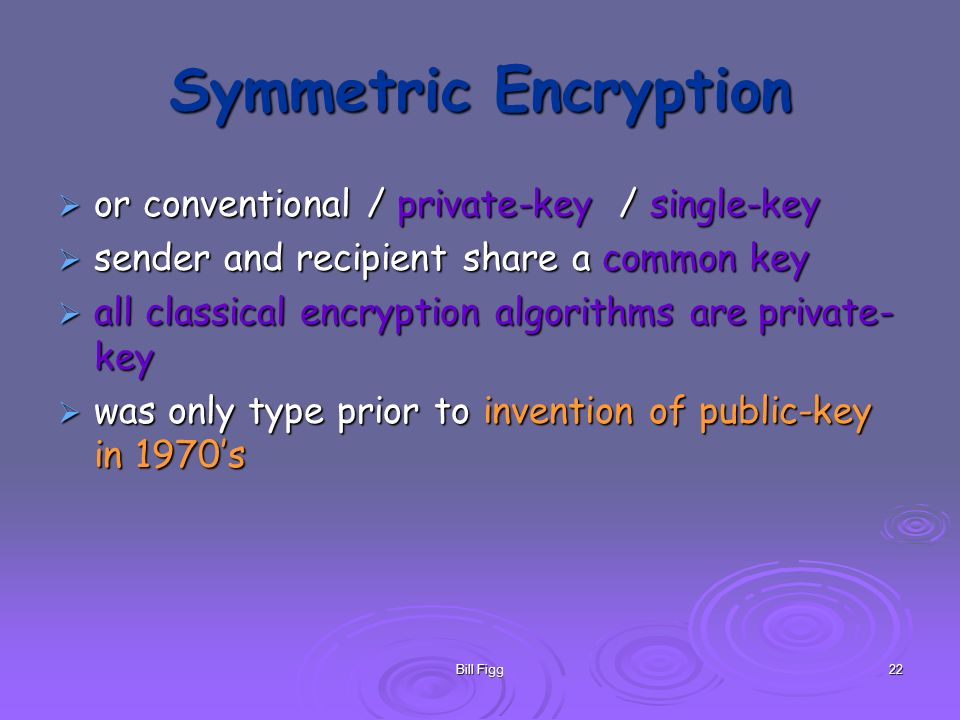 Symmetric Encryption or conventional / private-key / single-key