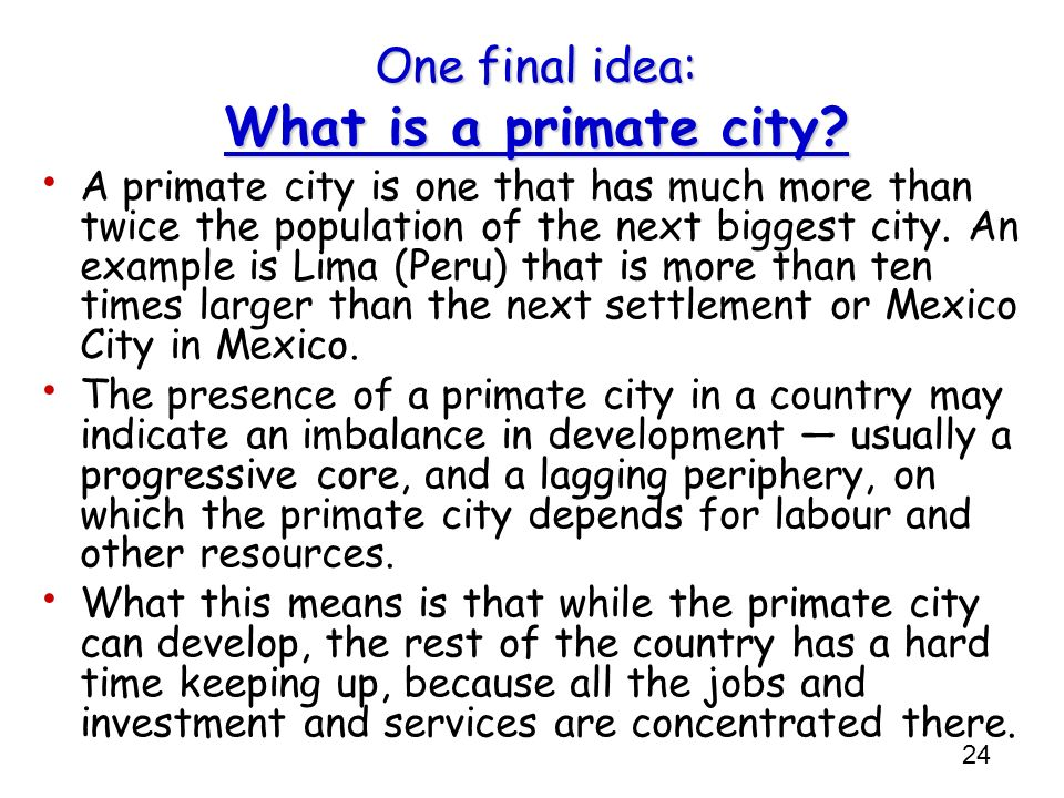 One final idea: What is a primate city