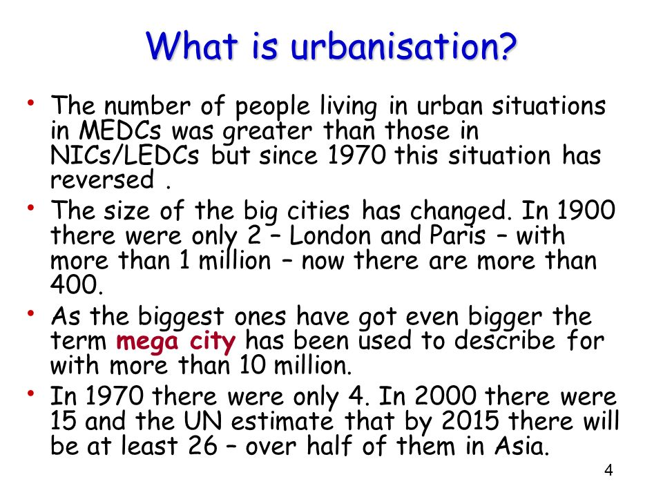 What is urbanisation
