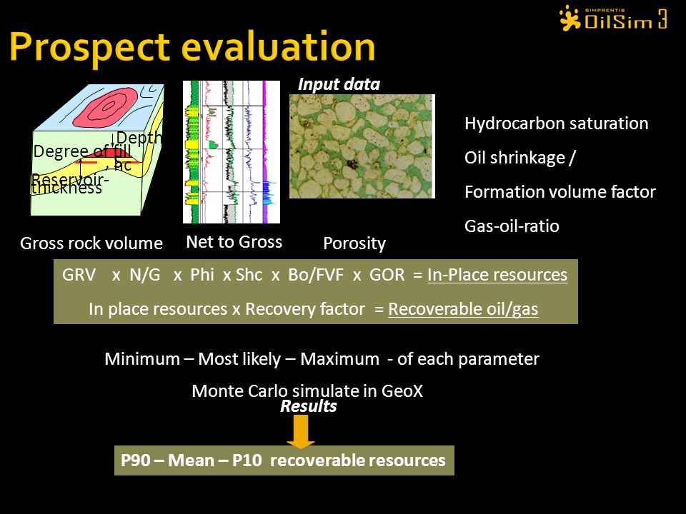 Prospect evaluation ¯, S hc Depth Degree of fill Reservoir- thickness
