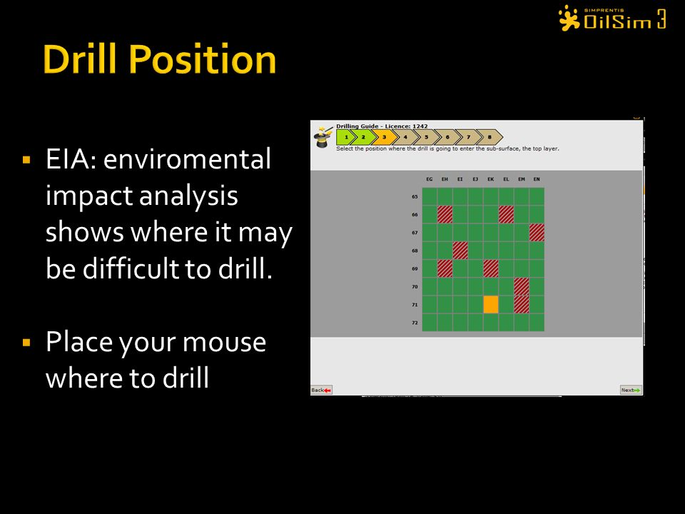 Drill Position EIA: enviromental impact analysis shows where it may be difficult to drill. Place your mouse where to drill.