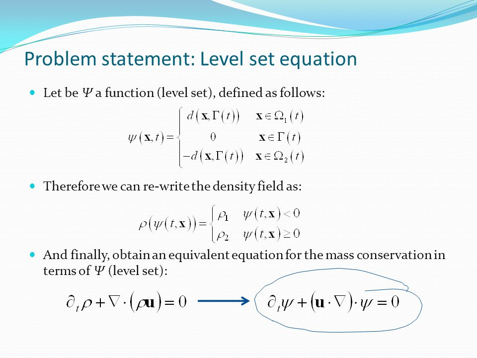 Problem statement: Level set equation