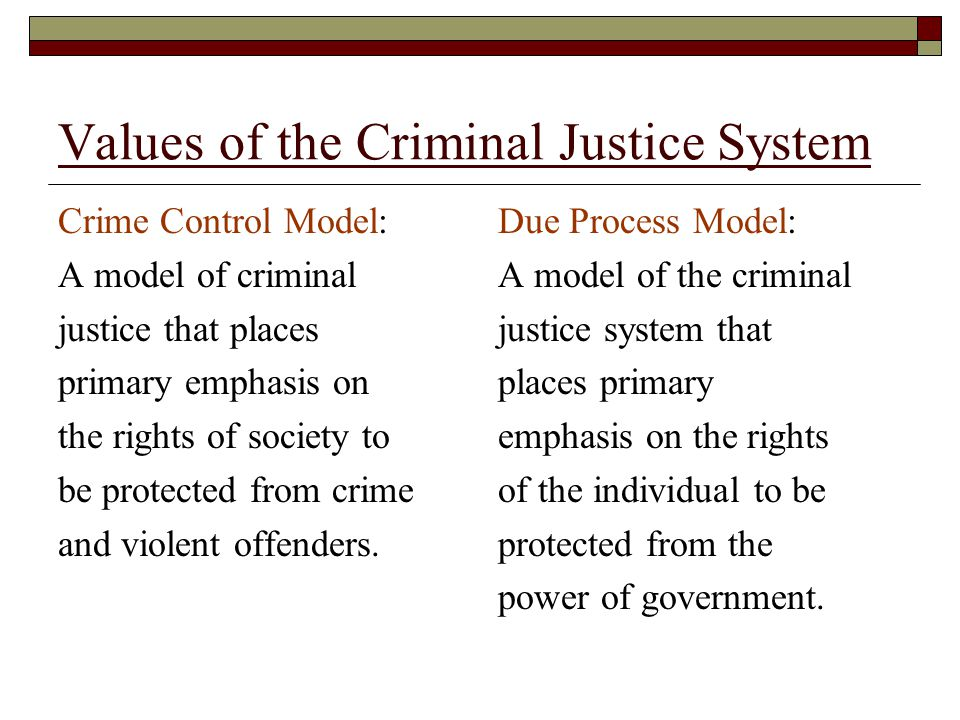 Values of the Criminal Justice System
