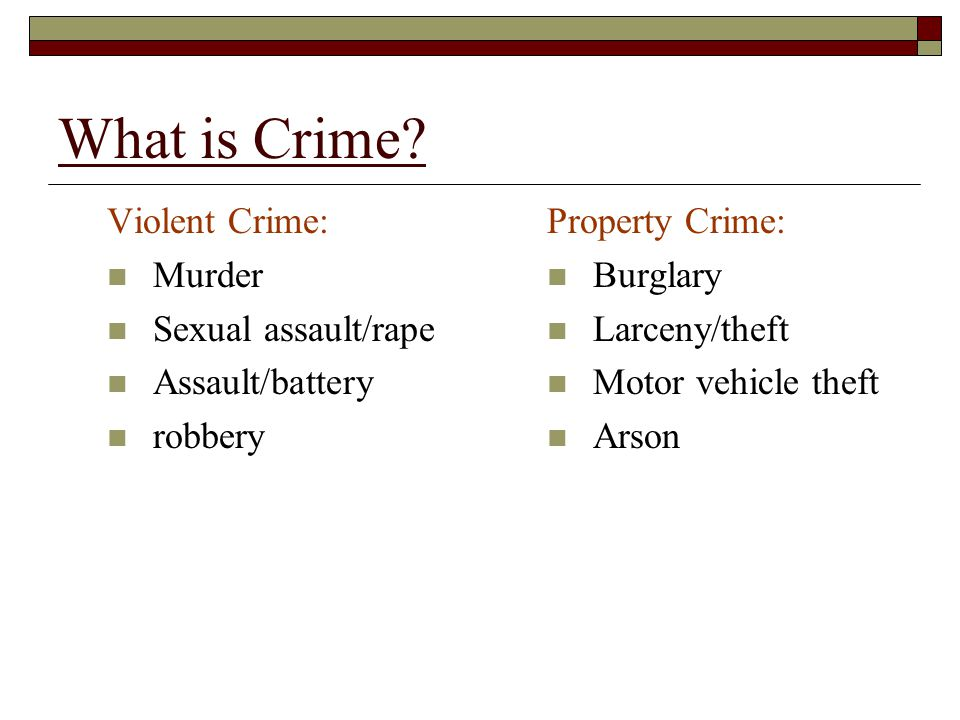 What is Crime Violent Crime: Murder Sexual assault/rape