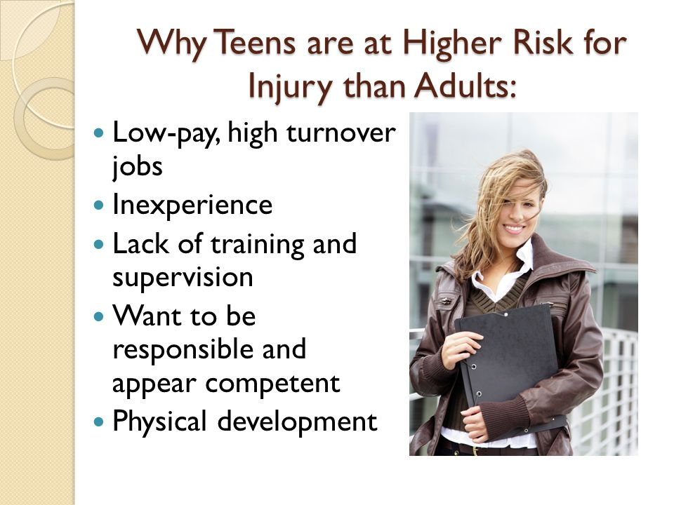 why teens are at higher risk for injury than adults