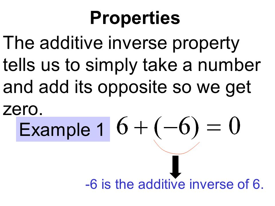 Properties The additive inverse property tells us to simply take a number and add its opposite so we get zero.