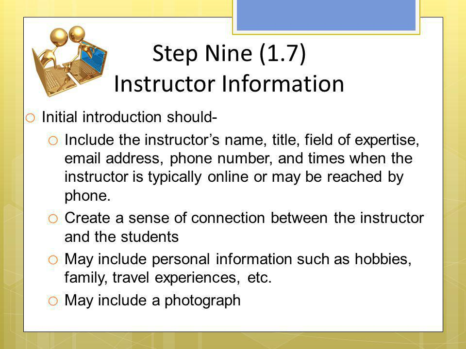 Step Nine (1.7) Instructor Information