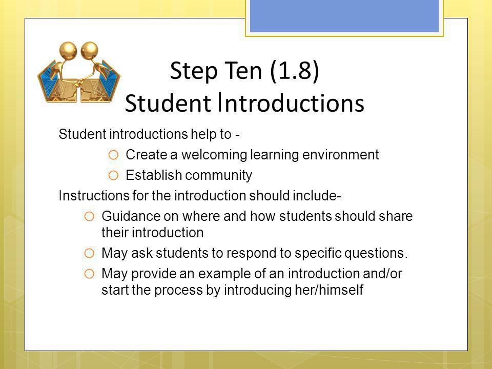 Step Ten (1.8) Student Introductions