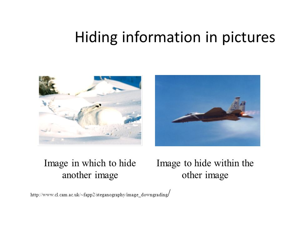 Hiding information in pictures