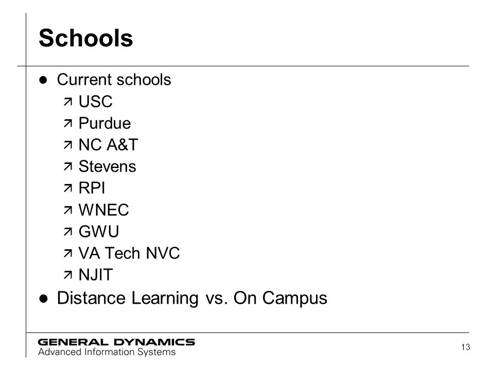 Schools Distance Learning vs. On Campus Current schools USC Purdue