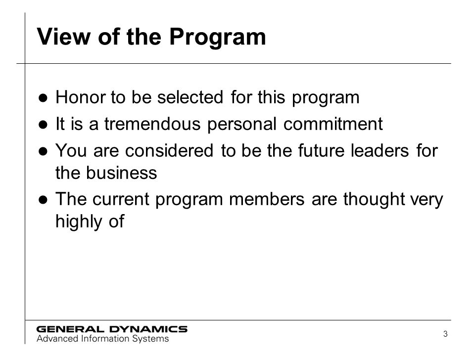 View of the Program Honor to be selected for this program