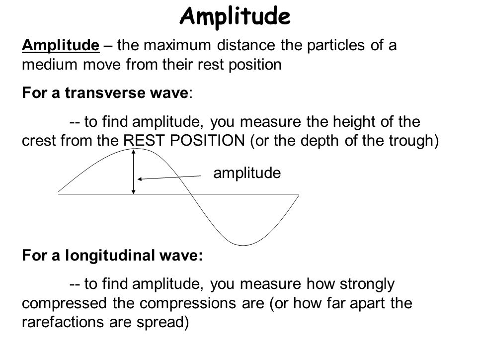 Amplitude Amplitude – the maximum distance the particles of a medium move from their rest position.