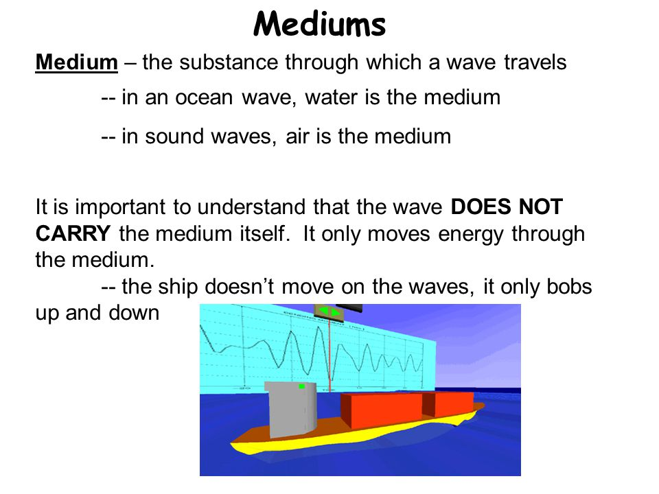 Mediums Medium – the substance through which a wave travels