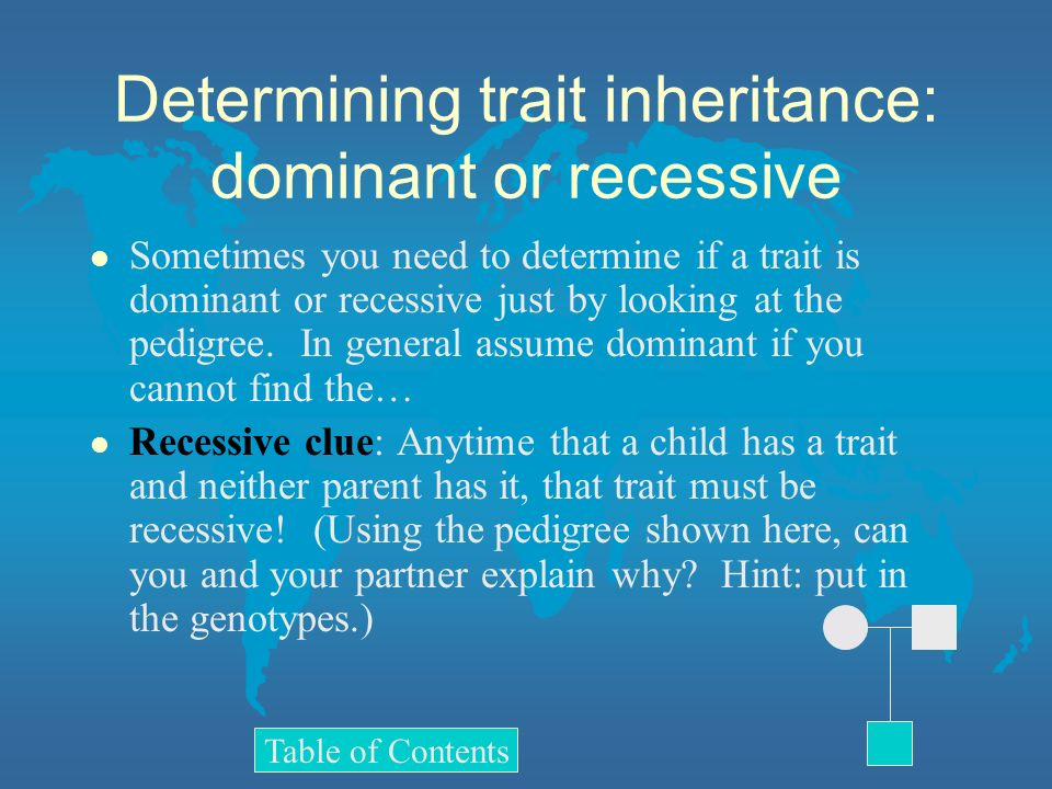 Determining trait inheritance: dominant or recessive