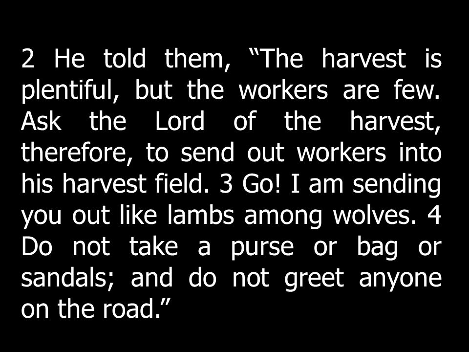 2 He told them, The harvest is plentiful, but the workers are few