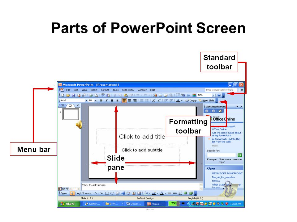Parts of PowerPoint Screen