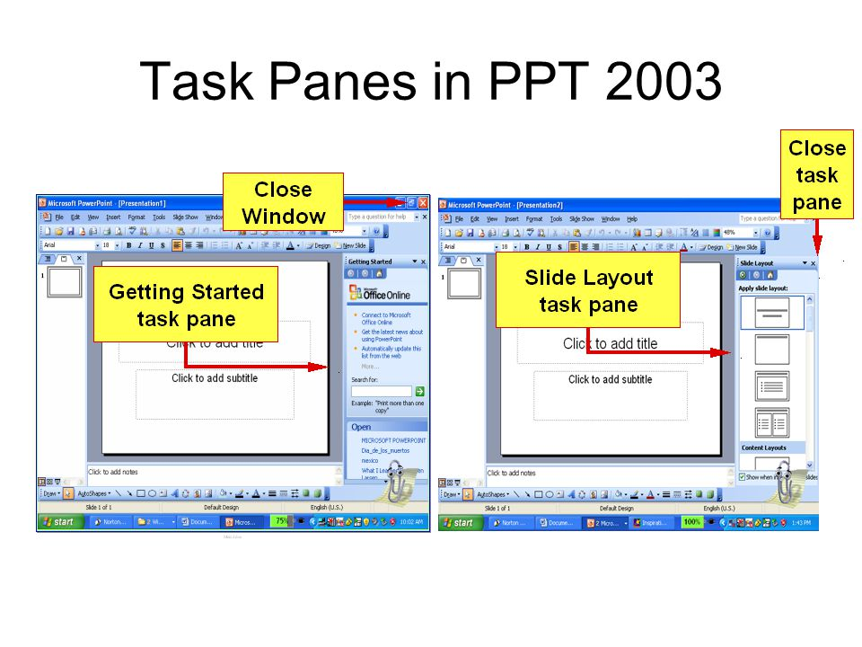 Task Panes in PPT 2003