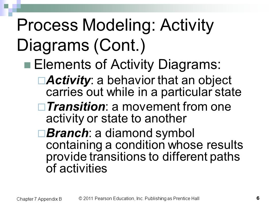 Process Modeling: Activity Diagrams (Cont.)