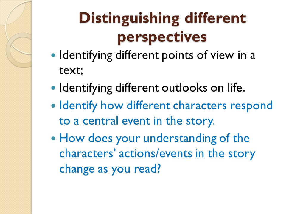 Distinguishing different perspectives