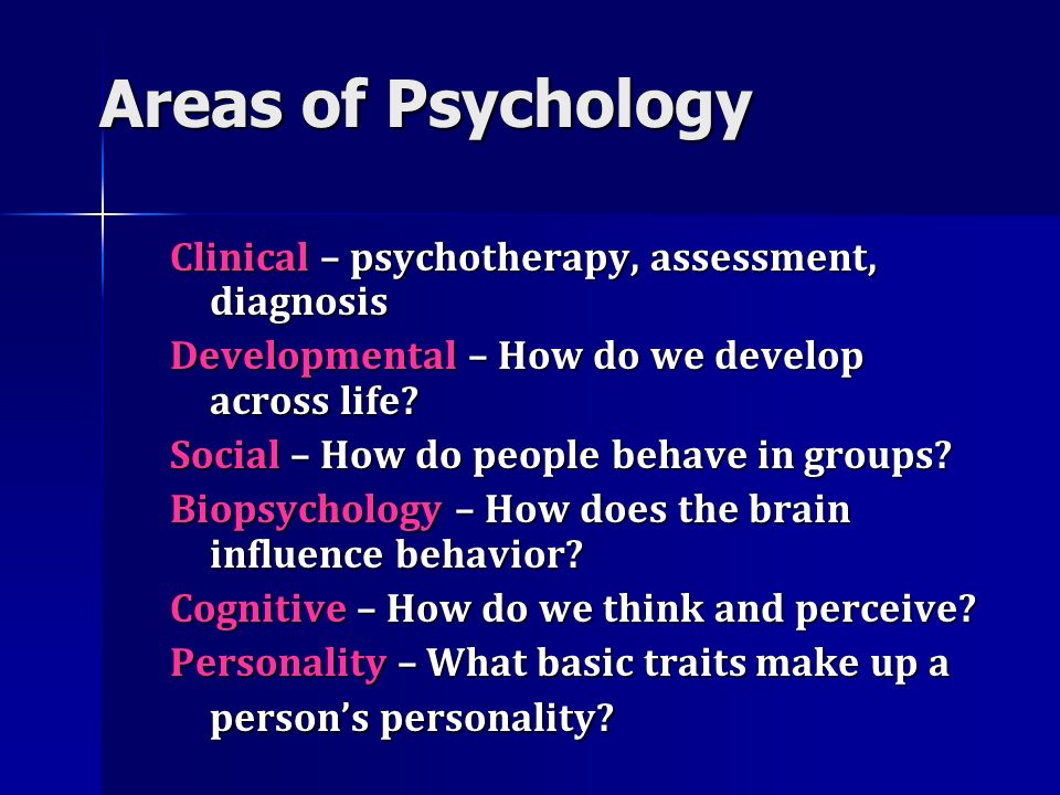 Areas of Psychology Clinical – psychotherapy, assessment, diagnosis