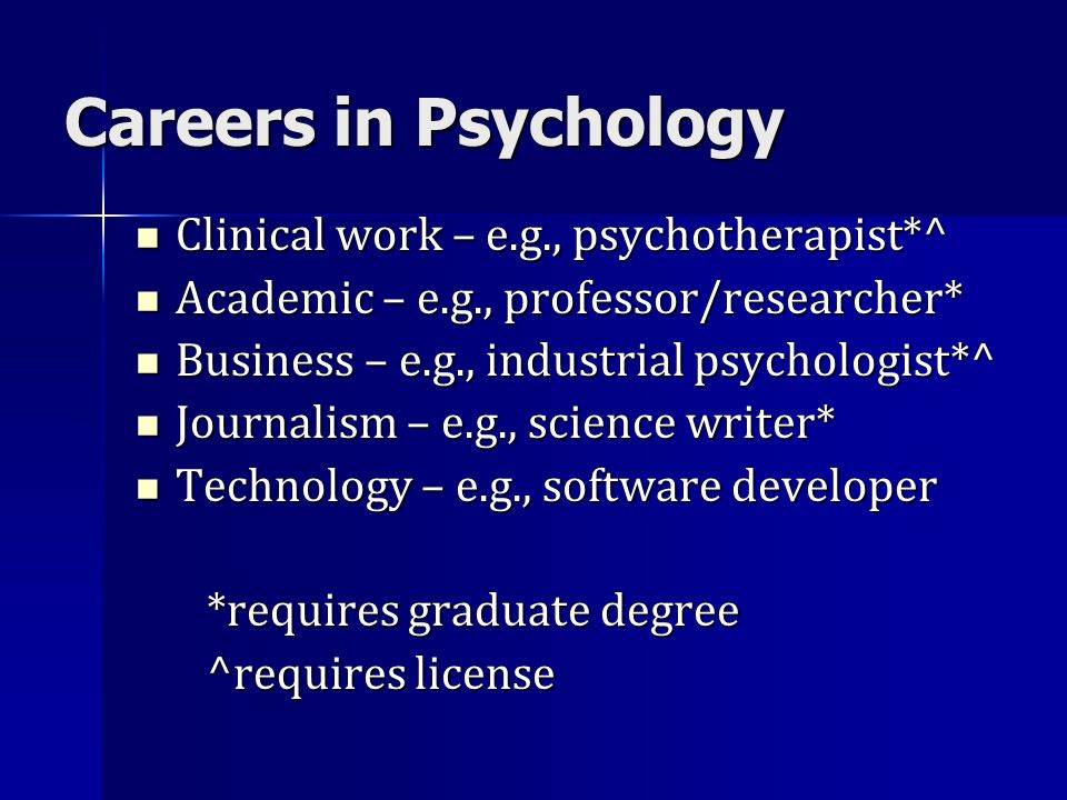 Careers in Psychology Clinical work – e.g., psychotherapist*^