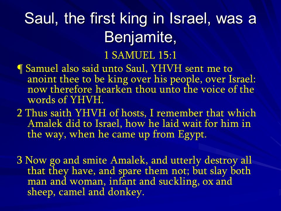 Saul, the first king in Israel, was a Benjamite,