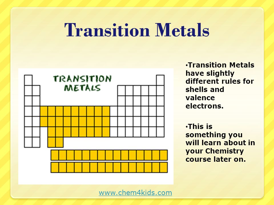 Periodic table determining shells and valence electrons ppt video transition metals transition metals have slightly different rules for shells and valence electrons urtaz Choice Image