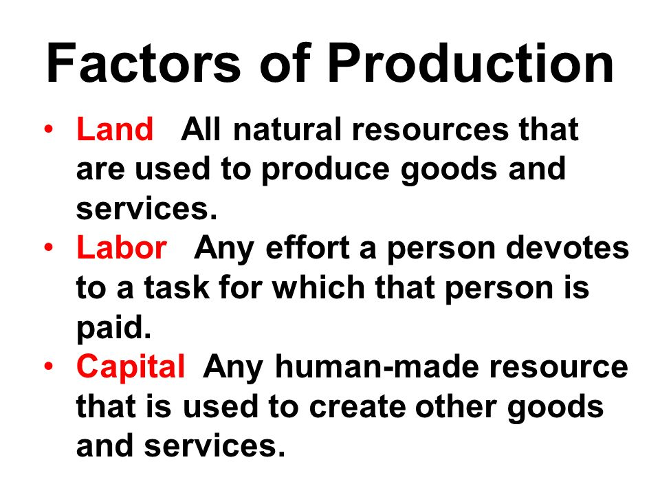 Factors of Production Land All natural resources that are used to produce goods and services.