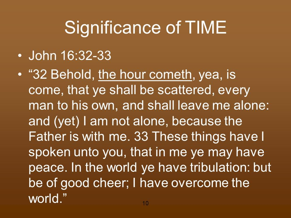 Significance of TIME John 16:32-33