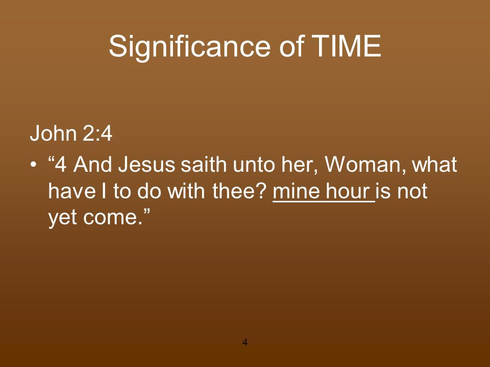 Significance of TIME John 2:4