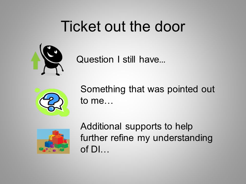 Ticket out the door Question I still have…